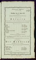 25.6.1816 Cesario [Wolff, Pius Alexander] | <<Der>> Sammtrock [Kotzebue, August von]