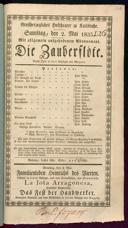 2.5.1835 <<Die>> Zauberflöte [Mozart, Wolfgang Amadeus]