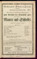 15.2.1844 <<Le>> maçon [Auber, Daniel-François-Esprit]