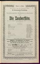 13.2.1884 <<Die>> Zauberflöte [Mozart, Wolfgang Amadeus]