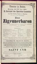20.7.1891 <<Der>> Zigeunerbaron [Strauss, Johann]