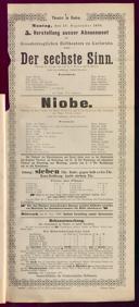 19.9.1898 <<Der>> sechste Sinn [Moser, Gustav von] | Niobe [Blumenthal, Oscar]
