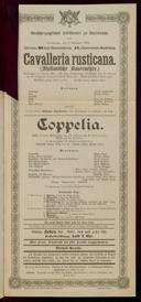 7.11.1901 Cavalleria rusticana [Mascagni, Pietro] | Coppélia ... [Delibes, Léo]