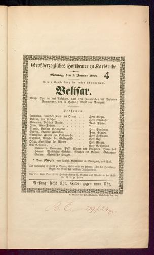 [Karlsruher und Badener Theaterzettel | 1844]