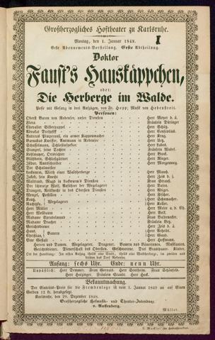 [Karlsruher und Badener Theaterzettel | 1849]