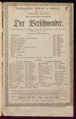 [Karlsruher und Badener Theaterzettel | 1851]