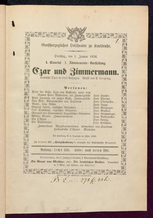 [Karlsruher und Badener Theaterzettel | 1856]