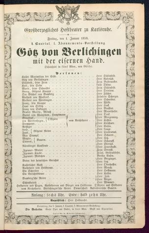 [Karlsruher und Badener Theaterzettel | 1858]