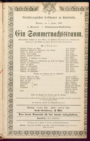 [Karlsruher und Badener Theaterzettel | 1860]