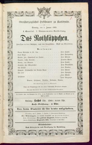 [Karlsruher und Badener Theaterzettel | 1865]