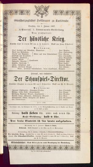 [Karlsruher und Badener Theaterzettel | 1867]