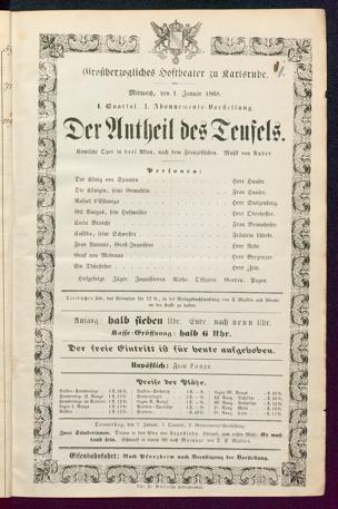[Karlsruher und Badener Theaterzettel | 1868]