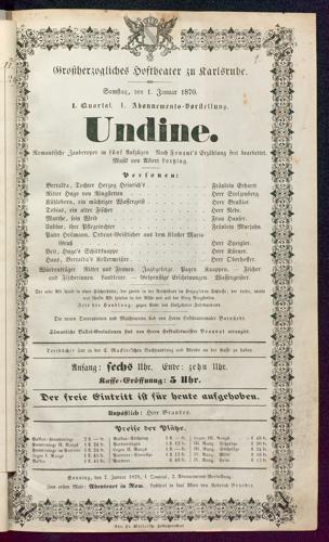 [Karlsruher und Badener Theaterzettel | 1870]