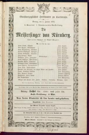 [Karlsruher und Badener Theaterzettel | 1872]