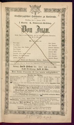 [Karlsruher und Badener Theaterzettel | 1878]