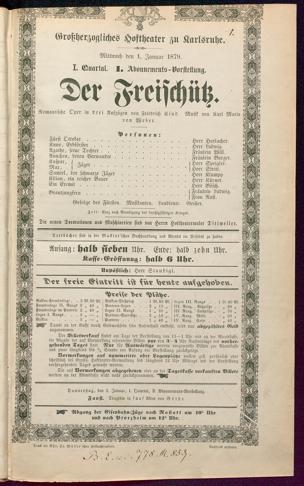 [Karlsruher und Badener Theaterzettel | 1879]
