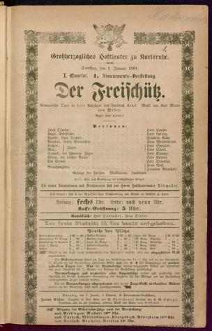 [Karlsruher und Badener Theaterzettel | 1881]