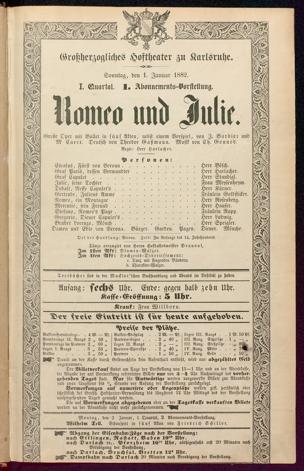 [Karlsruher und Badener Theaterzettel | 1882]