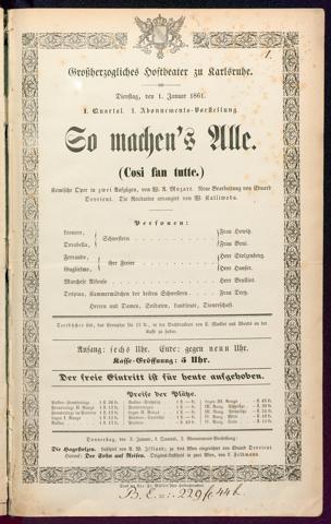 [Karlsruher und Badener Theaterzettel | 1861]