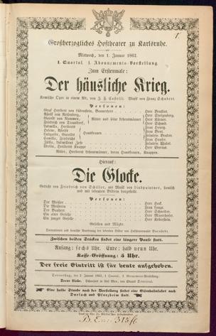 [Karlsruher und Badener Theaterzettel | 1862]