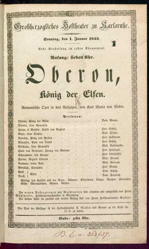 [Karlsruher und Badener Theaterzettel | 1843]