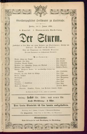 [Karlsruher und Badener Theaterzettel | 1864]