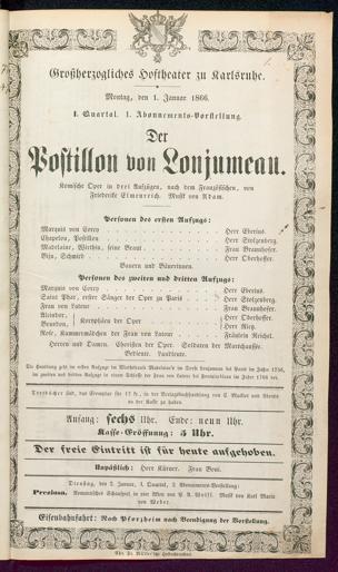 [Karlsruher und Badener Theaterzettel | 1866]