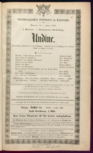 [Karlsruher und Badener Theaterzettel | 1873]