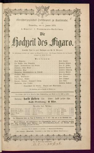 [Karlsruher und Badener Theaterzettel | 1874]