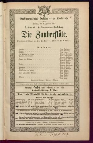 [Karlsruher und Badener Theaterzettel | 1877]