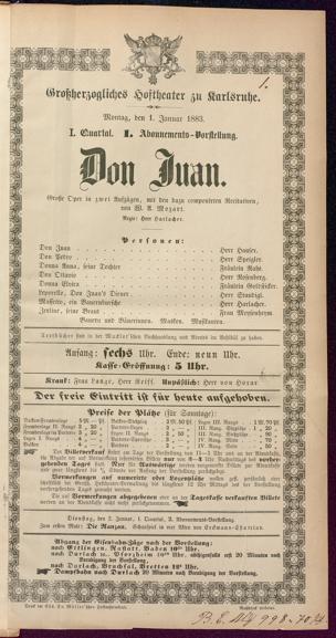 [Karlsruher und Badener Theaterzettel | 1883]