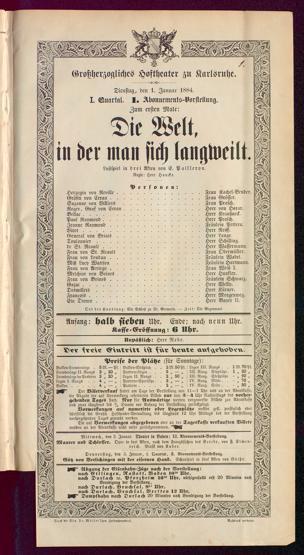 [Karlsruher und Badener Theaterzettel | 1884]
