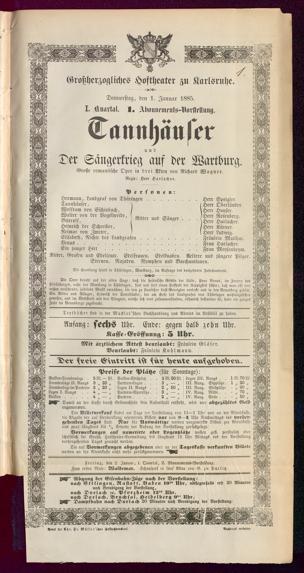 [Karlsruher und Badener Theaterzettel | 1885]