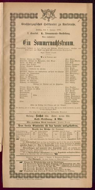 [Karlsruher und Badener Theaterzettel | 1886]