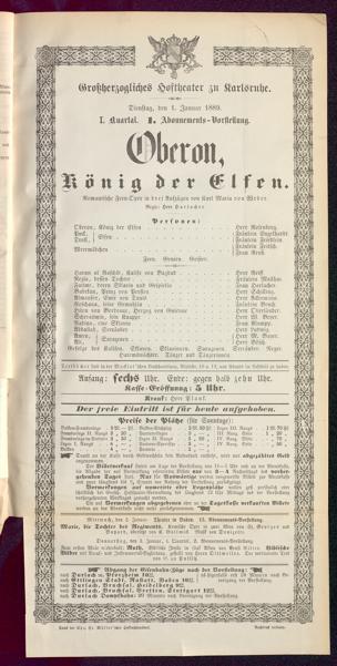 [Karlsruher und Badener Theaterzettel | 1889]