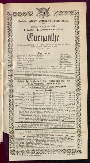 [Karlsruher und Badener Theaterzettel | 1894]