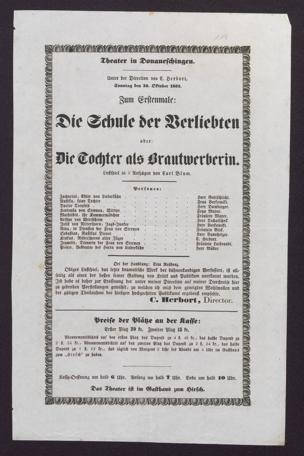 [Karlsruher und Badener Theaterzettel | 1852]