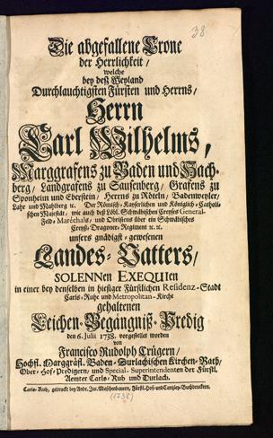 Franz Rudolph Krüger: Die abgefallene Crone der Herrlichkeit. Signatur O42 B 62,2,38 RH